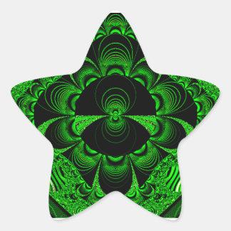 Schönes vibrierendes grünes Fraktal-Themed Waren Stern-Aufkleber