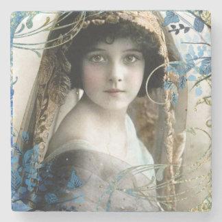 Schönes viktorianisches Mädchen-Vintage Steinuntersetzer