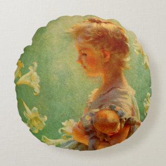 Schönes Vintages Art-Mädchen mit Blumen-Kissen Rundes Kissen