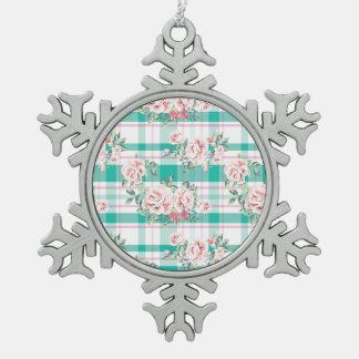 Schönes Vintages Blumen-Rosen-Muster Schneeflocken Zinn-Ornament