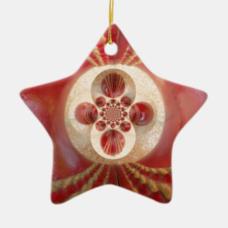 Schönes Vintages grafisches ledernes Kricket Keramik Stern-Ornament
