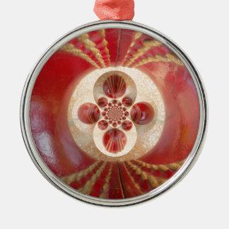 Schönes Vintages grafisches ledernes Kricket Rundes Silberfarbenes Ornament