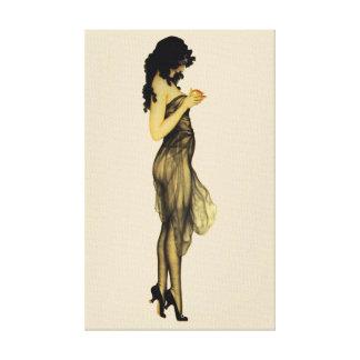 Schönes Vintages Retro Mädchen mit einem Apple Leinwanddruck