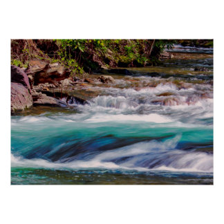 Schönes Wasser-Nebenfluss-LandschaftsFoto Poster