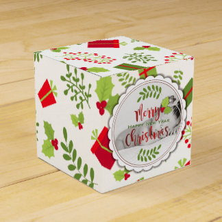 Schönes Weihnachtsskript-Geschenk-Foto Geschenkschachtel