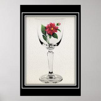 Schönes Wein-Glas mit gemalter roter Blume Poster