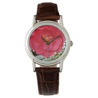 Schönheit ist eine rosa Kamelien-Blume, Uhr