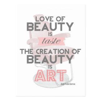 Schönheit ist Kunst-Haar-Stylist-Salon-Postkarte Postkarten