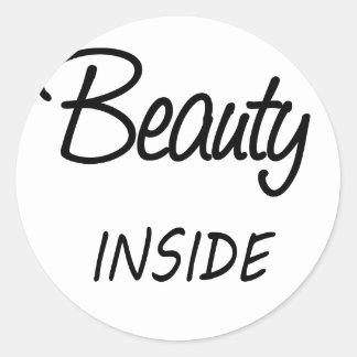Schönheit nach innen runder aufkleber