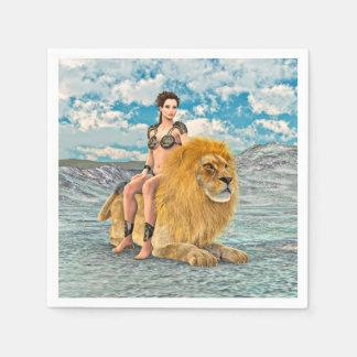 Schönheit und Löwe Papierserviette