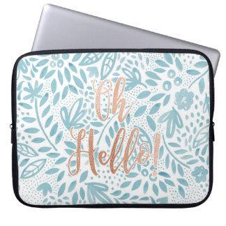 """Schönheits-Blau """"oh hallo"""" Laptop-Kasten Laptopschutzhülle"""