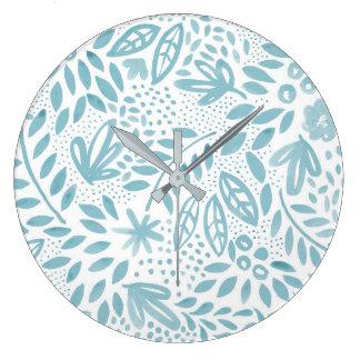Schönheits-blaue BlumenWasserfarbe-Wand-Uhr Große Wanduhr