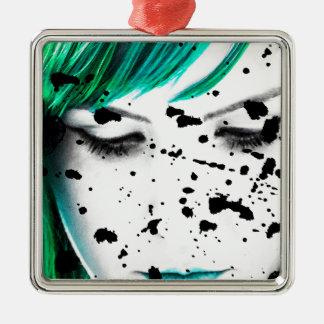 Schönheits-Frauen-nahes hohes künstlerisches Quadratisches Silberfarbenes Ornament
