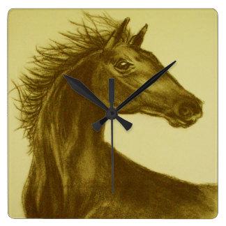 """""""Schönheits-"""" PferdeWanduhr Quadratische Wanduhr"""