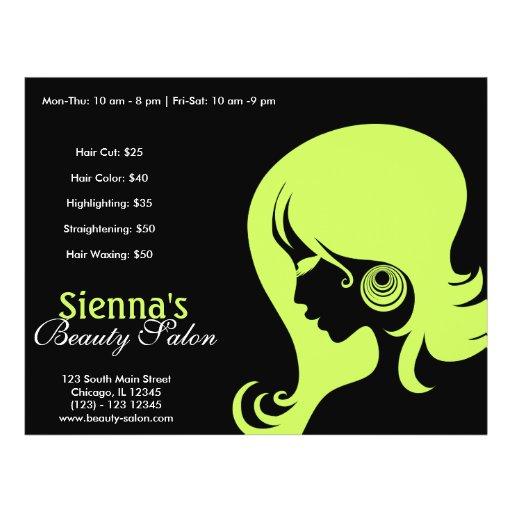 Schönheits-Salon (dunkles Olivgrün) Bedruckte Flyer
