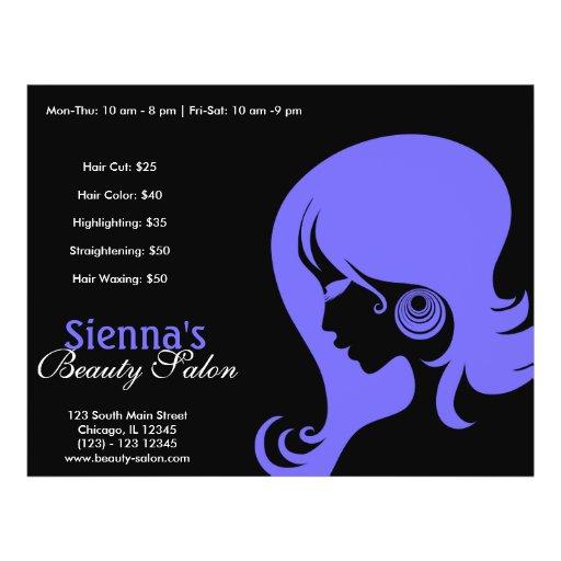 Schönheits-Salon (helles Schiefer-Blau) Bedruckte Flyer