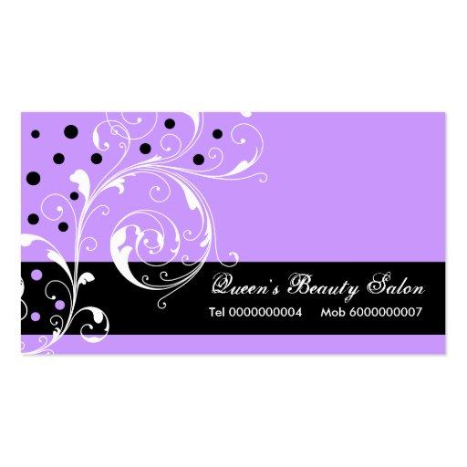 Schönheits-Salonblumenrolleblattschwarzes, lila Visitenkarten Vorlage