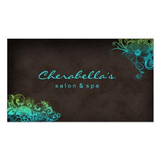 Schönheits-SalonblumenVisitenkarte blaues Grün Visitenkarten Vorlagen
