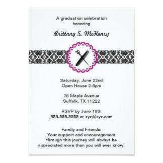Schönheits-Schuldamast-Abschluss-Einladungsrosa 12,7 X 17,8 Cm Einladungskarte