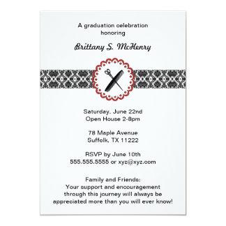 Schönheits-Schuldamast-Abschluss-Einladungsrot 12,7 X 17,8 Cm Einladungskarte