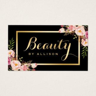 Schönheits-Skript-Make-upsalon-Schwarz-Gold mit Visitenkarte