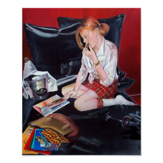 School's out print druck poster woman painting