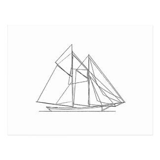 Schooner-Segelboot-Logo Postkarte