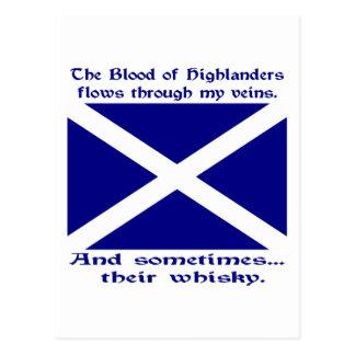 Schotte-Hochländer-Blut u. Whisky Postkarte