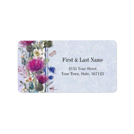 Schottische Distel-Blumenhochzeit Adressaufkleber