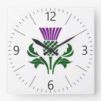 Schottische Emblemdistel Quadratische Wanduhr