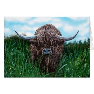 Schottische Hochland-Kuh-Malerei Grußkarte