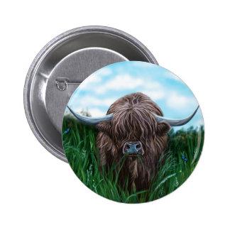 Schottische Hochland-Kuh-Malerei Runder Button 5,7 Cm