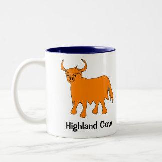Schottische Hochland-Kuh-Tasse mit Slogan Zweifarbige Tasse