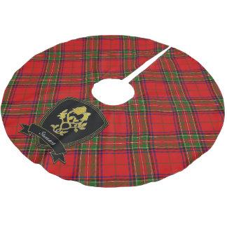 Schottische Tartan-Golddistel-Rose Ihr Name Polyester Weihnachtsbaumdecke