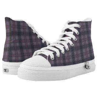 Schottische Tartanplaids lila Hoch-geschnittene Sneaker