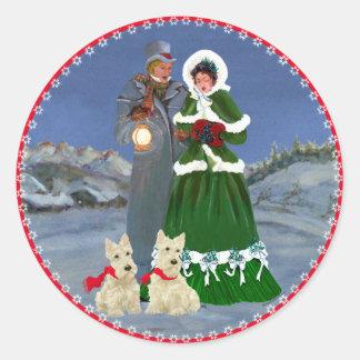 Schottische Terrier-Weihnachtsliede Runder Aufkleber
