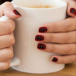 Schottischer Clan Wallace roter und schwarzer Minx Nagelkunst