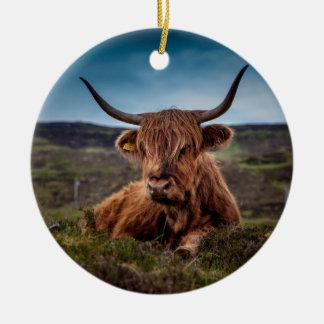 Schottischer Hochland Longhorns Viehzüchter Keramik Ornament