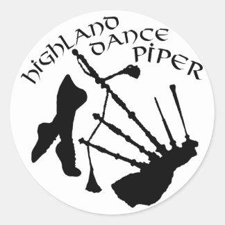 Schottischer Hochland-Tanz-Pfeifer Runder Aufkleber