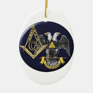Schottischer Ritus-Maurer Ovales Keramik Ornament