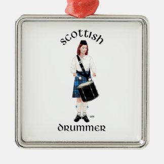 Schottischer Schlagzeuger - blauer Kilt Silbernes Ornament