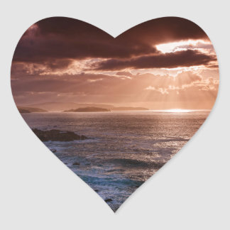 Schottischer Sonnenuntergang, Nordküste von Herz-Aufkleber