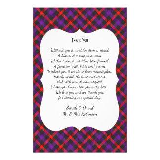 Schottisches Clantartan-Hochzeits-Gedicht danken 14 X 21,6 Cm Flyer