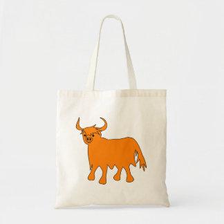 Schottisches Hochland-Kuh-Taschen-Taschenbild Budget Stoffbeutel