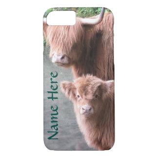 Schottisches Hochland-Vieh, Kuh und Kalb iPhone 7 Hülle