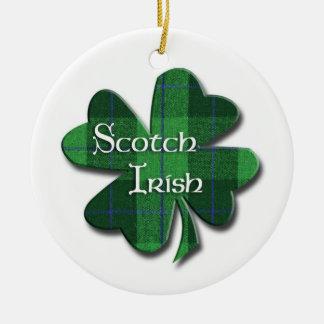 Schottisches irisches Kleeblatt Rundes Keramik Ornament