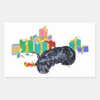 Schottisches Terrier-Nickerchen-Weihnachten Rechteckiger Aufkleber