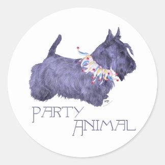 Schottisches Terrier-Party-Tier Runder Aufkleber