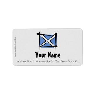 Schottland-Bürsten-Flagge Adressaufkleber
