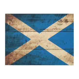 Schottland-Flagge auf altem hölzernem Korn Holzdruck